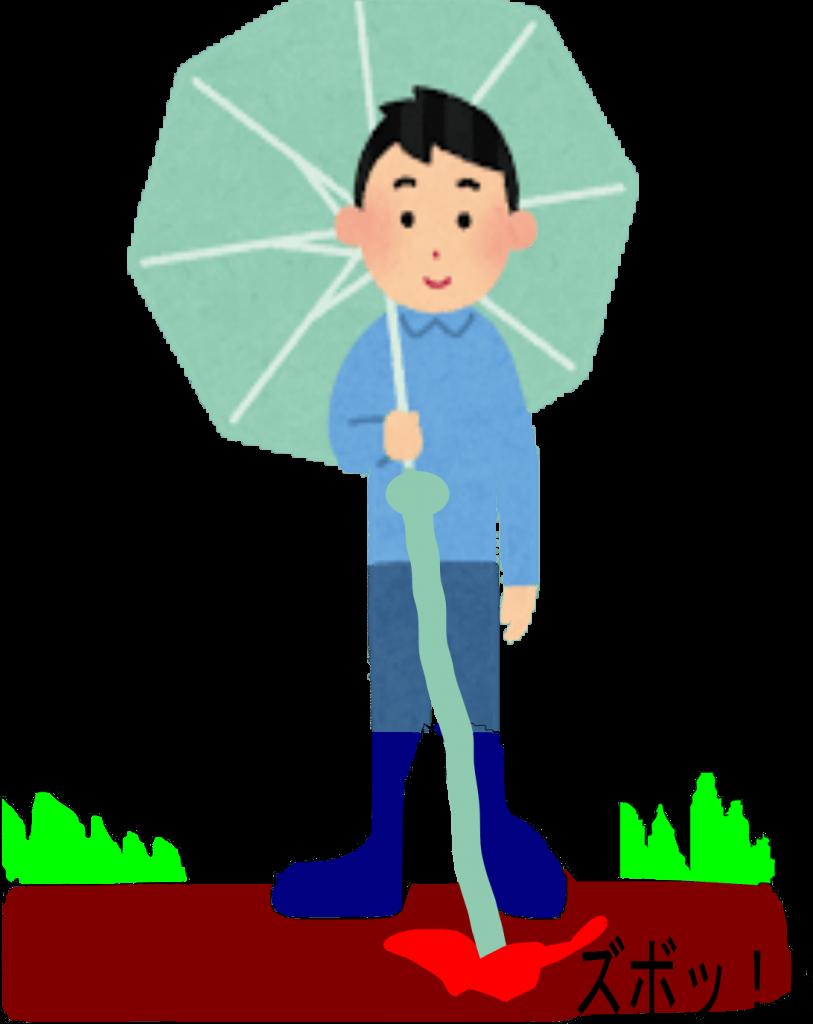 傘の柄が伸びて地面に突き刺さる