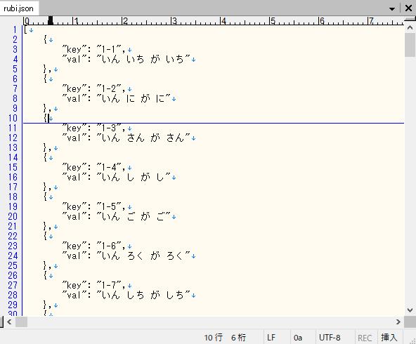 九九のルビをjsonファイルで定義